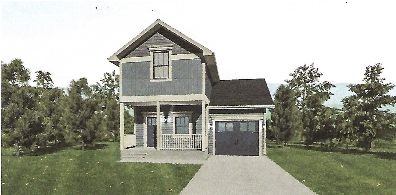 Edgewater cottage two story narrow lot design liscott for Narrow lot modular homes